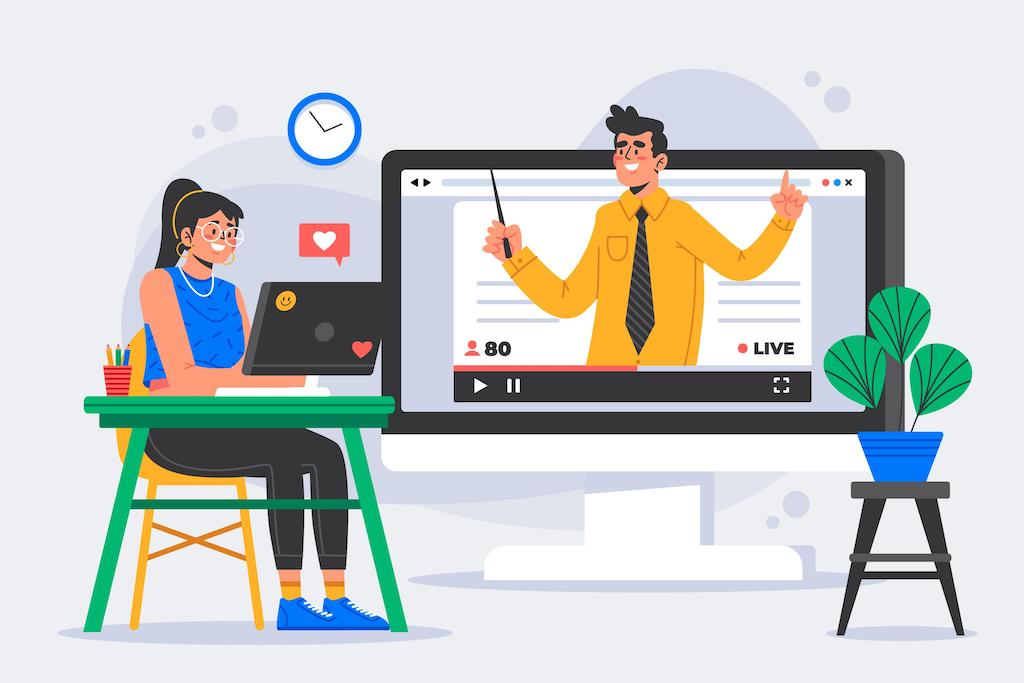 Computer vector virtual online class instructor and student
