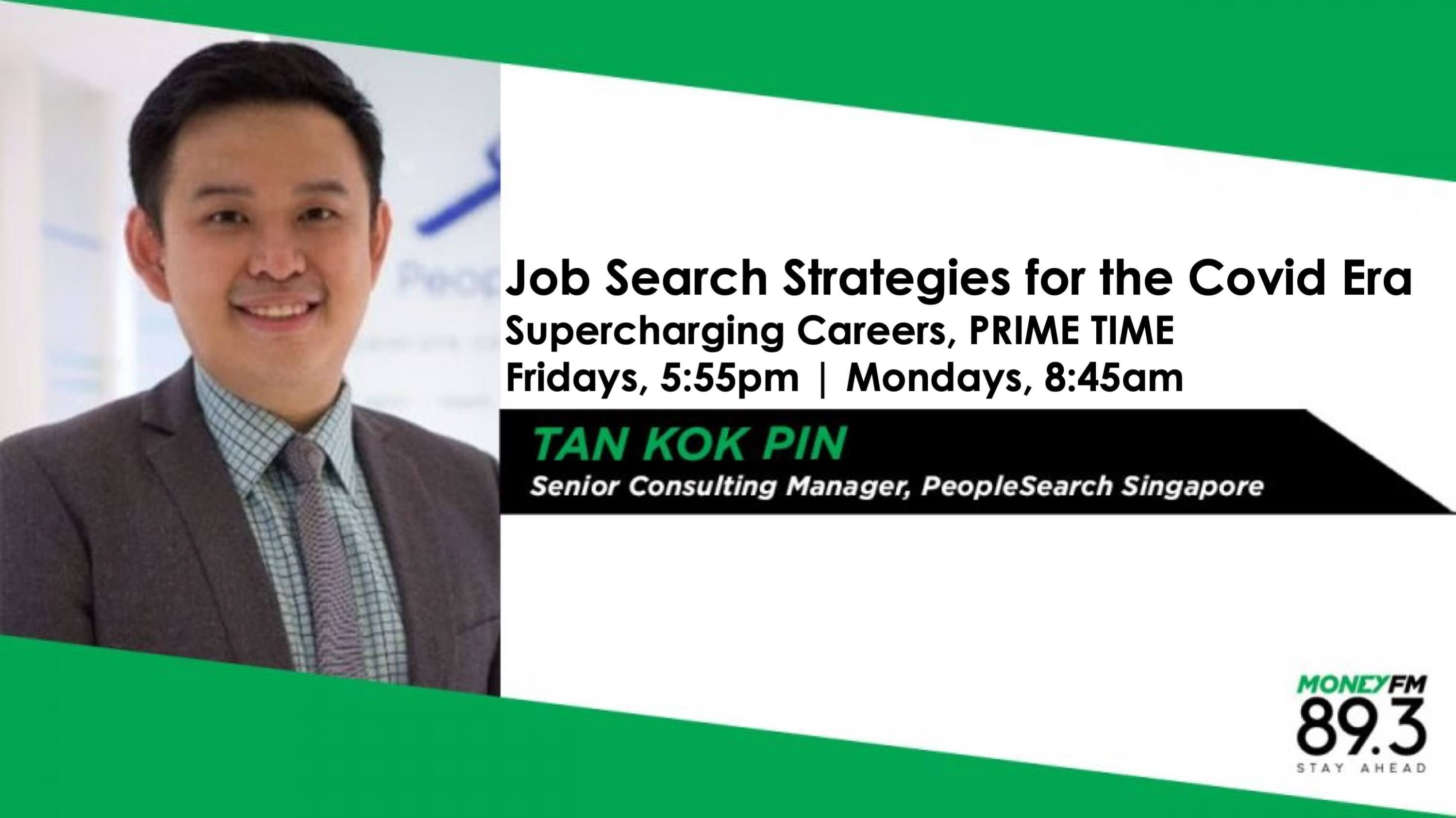 Asian man in a dark blazer and checked shirt and tie on radio station, MONEY FM 89.3's Supercharging Careers banner