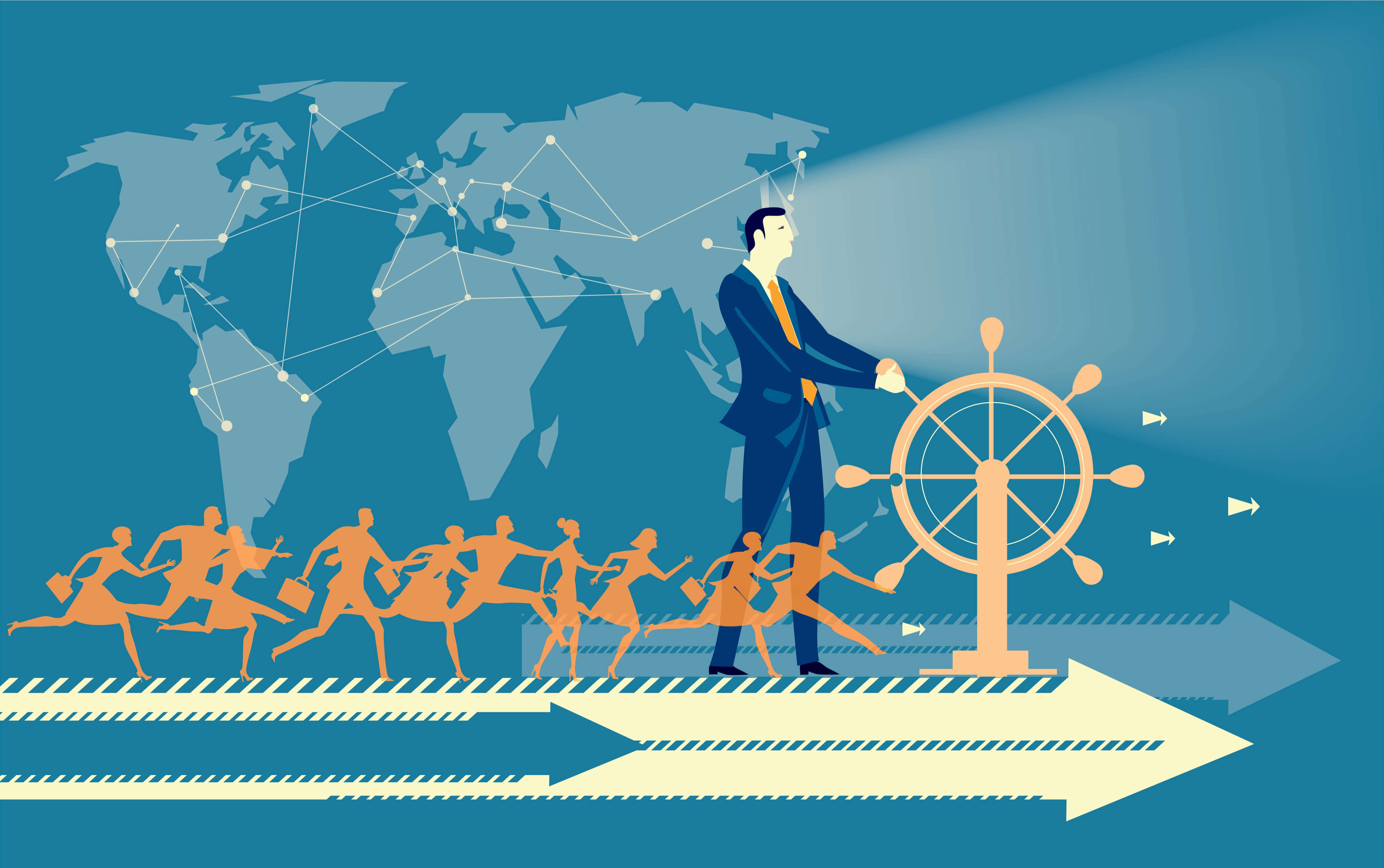 Graphic of business leader in a blue suit seen steering a ship with employees on board and world map in the background