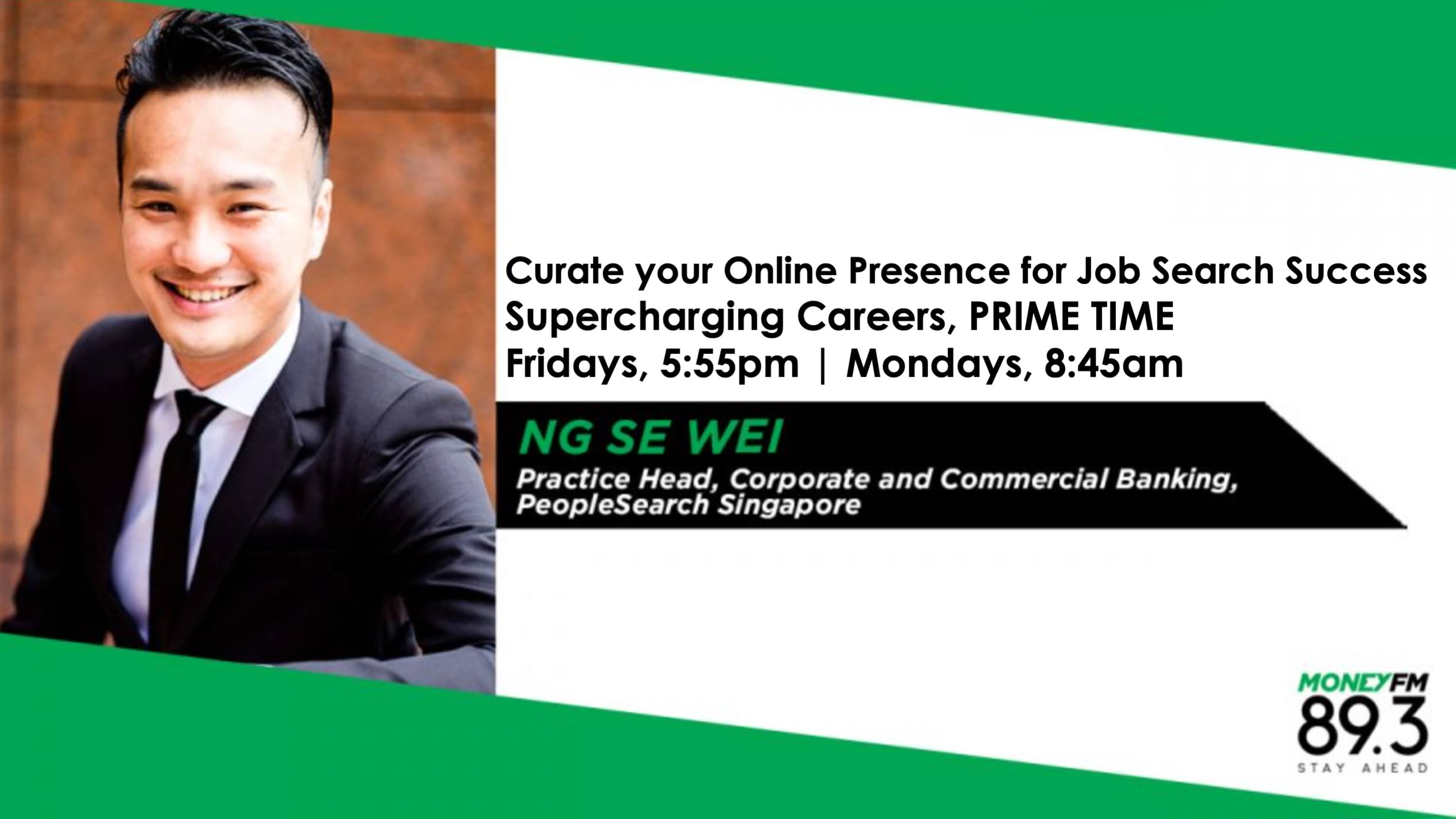 Asian man in a black suit on radio station, MONEY FM 89.3's Supercharging Careers banner