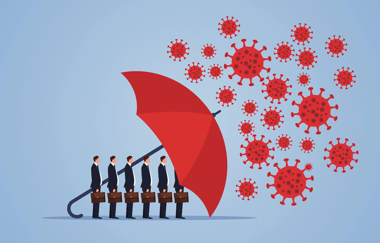 Graphic of men in business suits and briefcases standing under a red umbrella with covid-19 virus particles above umbrella