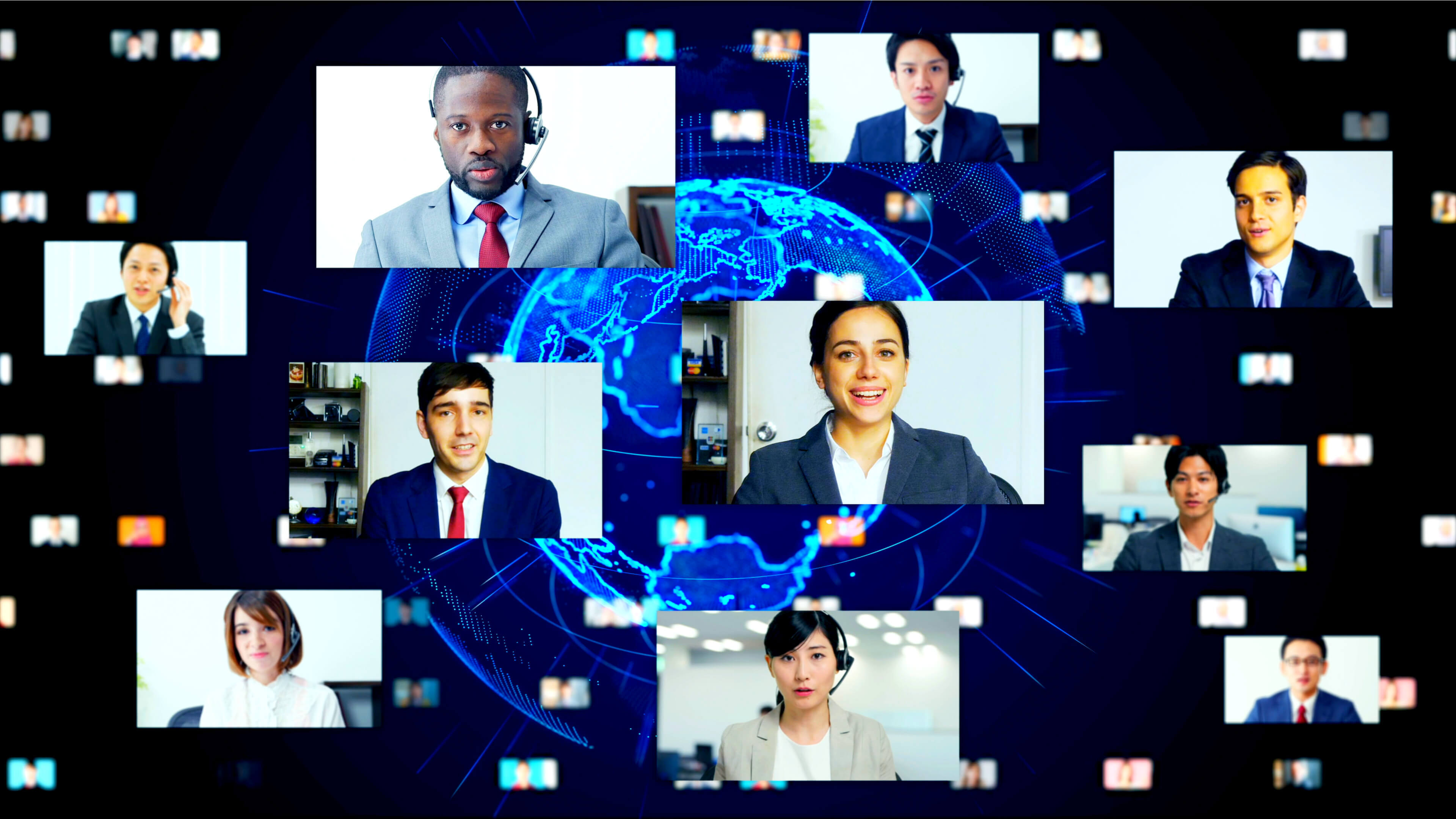 Professionals in business suits and ties communicating remotely from various countries, diversity and inclusion theme, against a blue globe backdrop