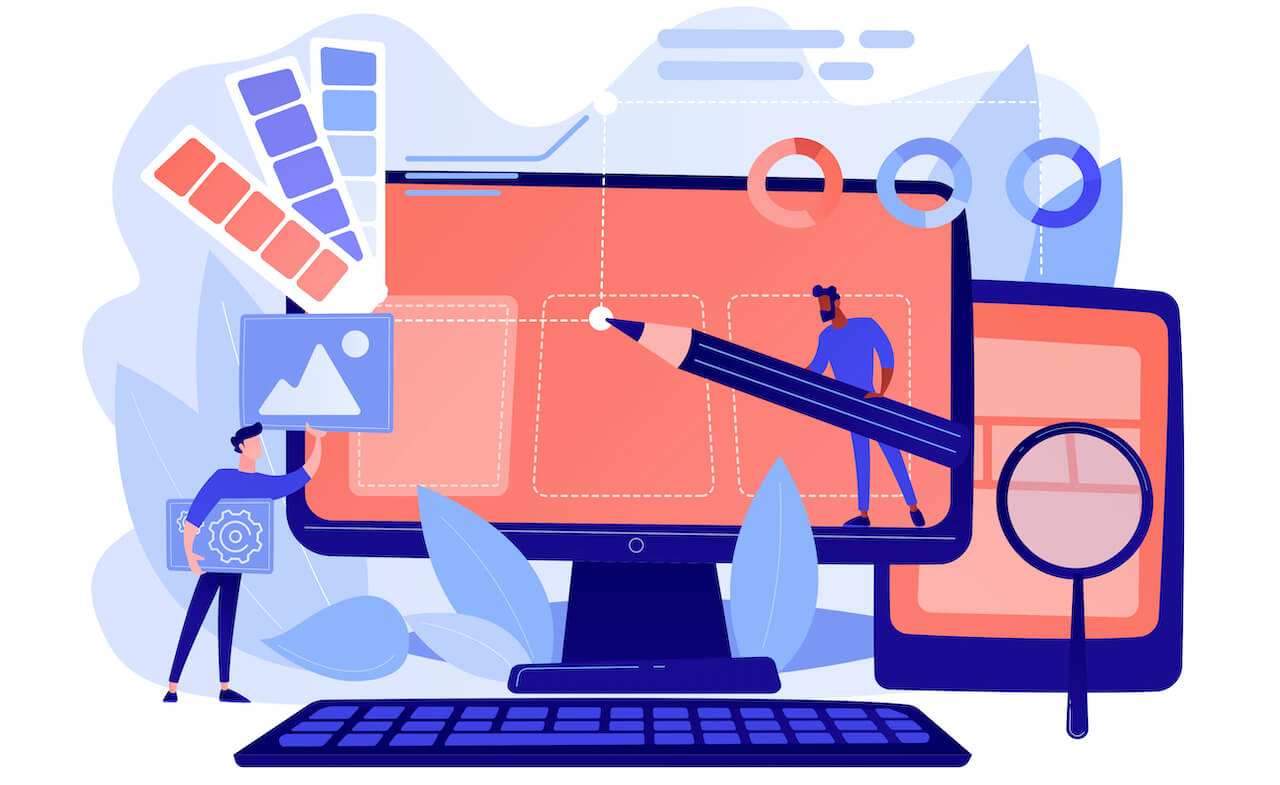 Graphic of people working on a large computer screen to showcase your skills