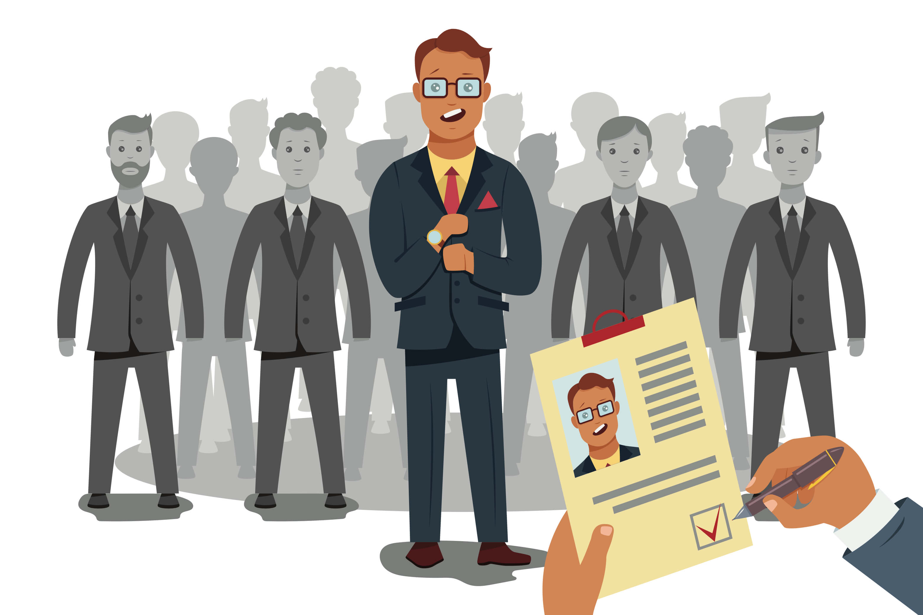 Cartoon illustration of man in dark suit and red tie applying for a job with hiring manager looking at his resume