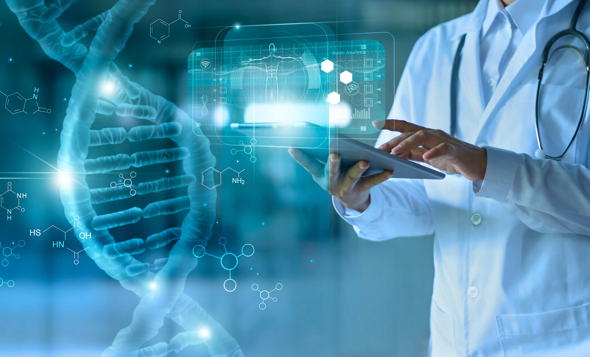Medical doctor touching electronic medical record on tablet. DNA. Online healthcare.